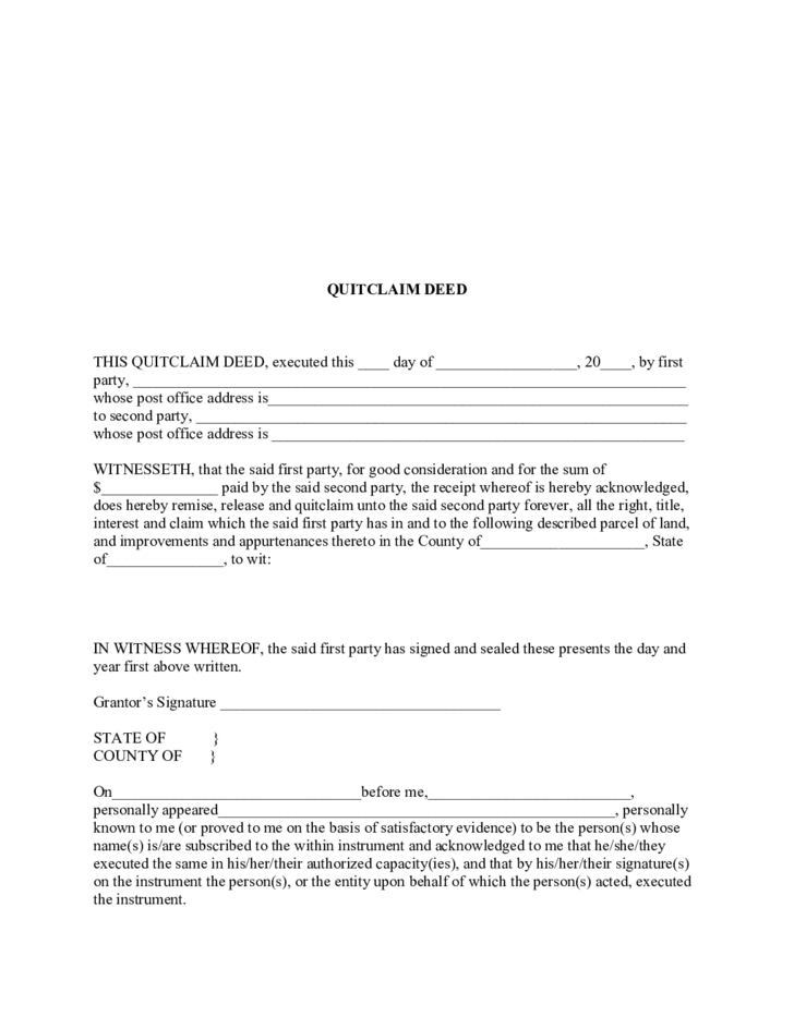 quitclaim deed template free download