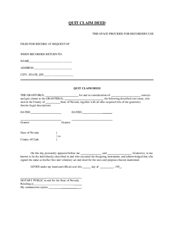 Quit Claim Deed - Nevada Free Download