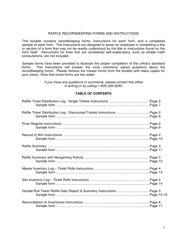 Raffle Recordkeeping Forms and Instructions