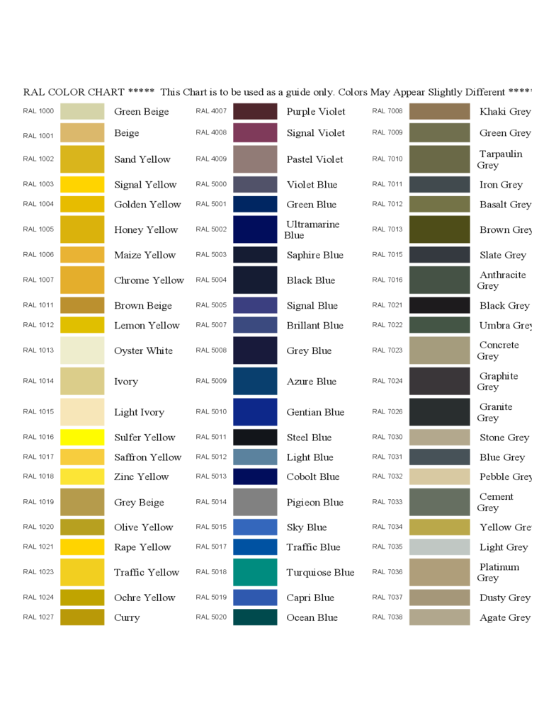 Ral Color Chart Template 6 Free Templates In Pdf Word