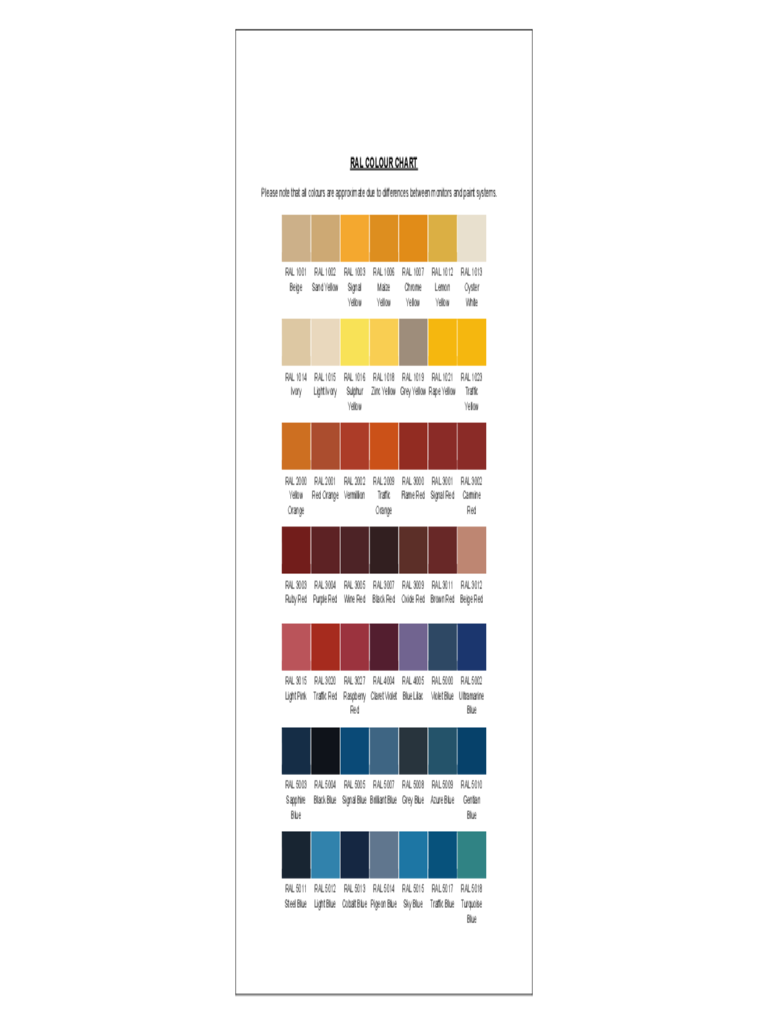 RAL Color Chart Sample