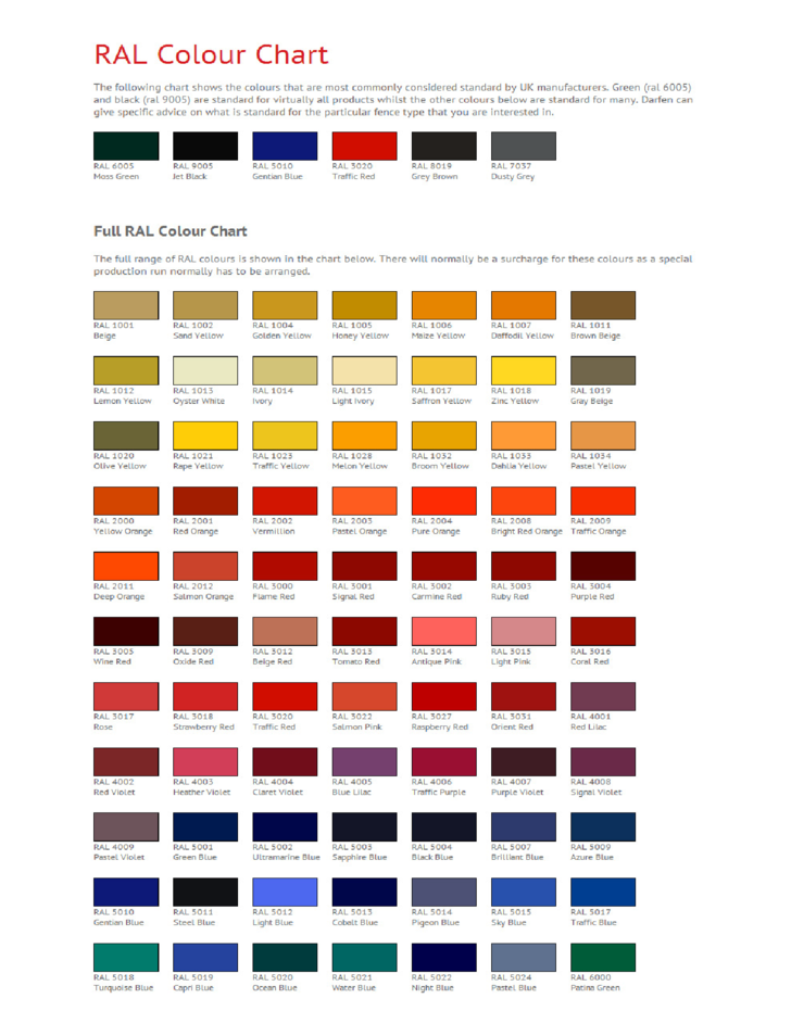Full Ral Color Chart Free Download