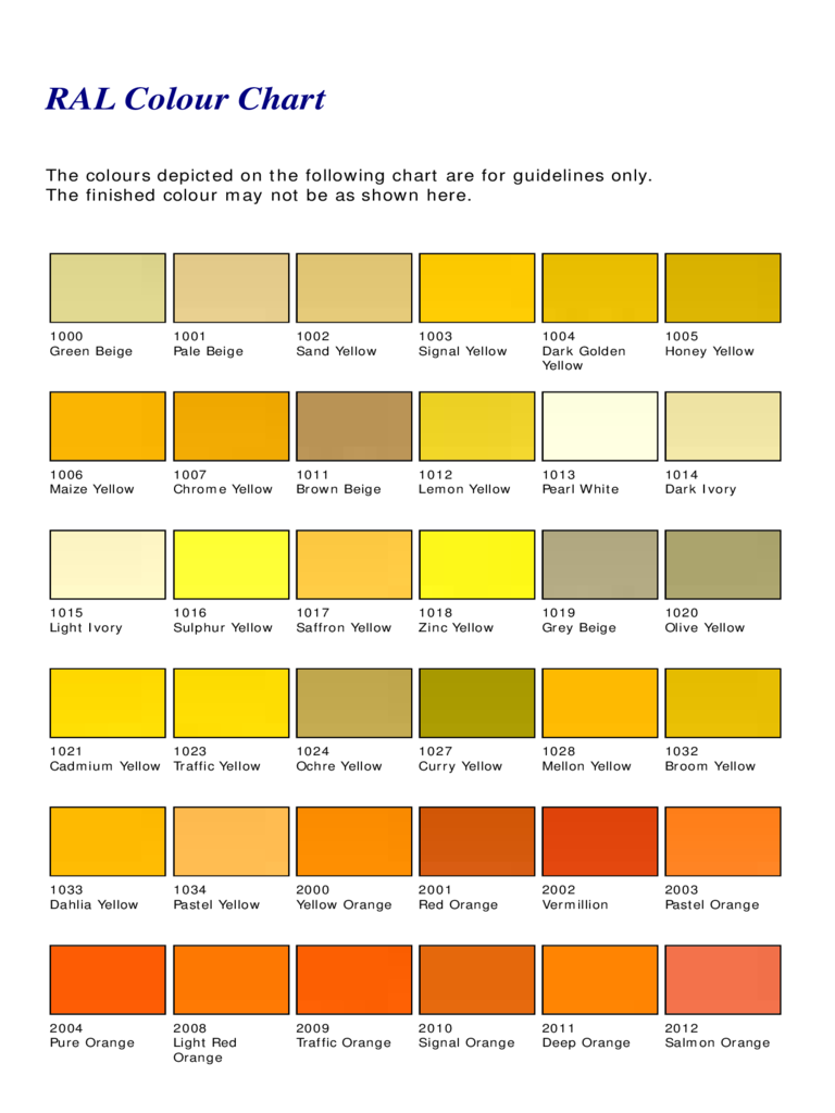 Standard RAL Color Chart