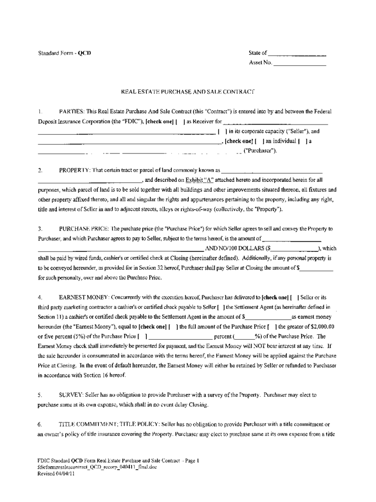 Standard Form Real Estate Contract Ibovnathandedecker