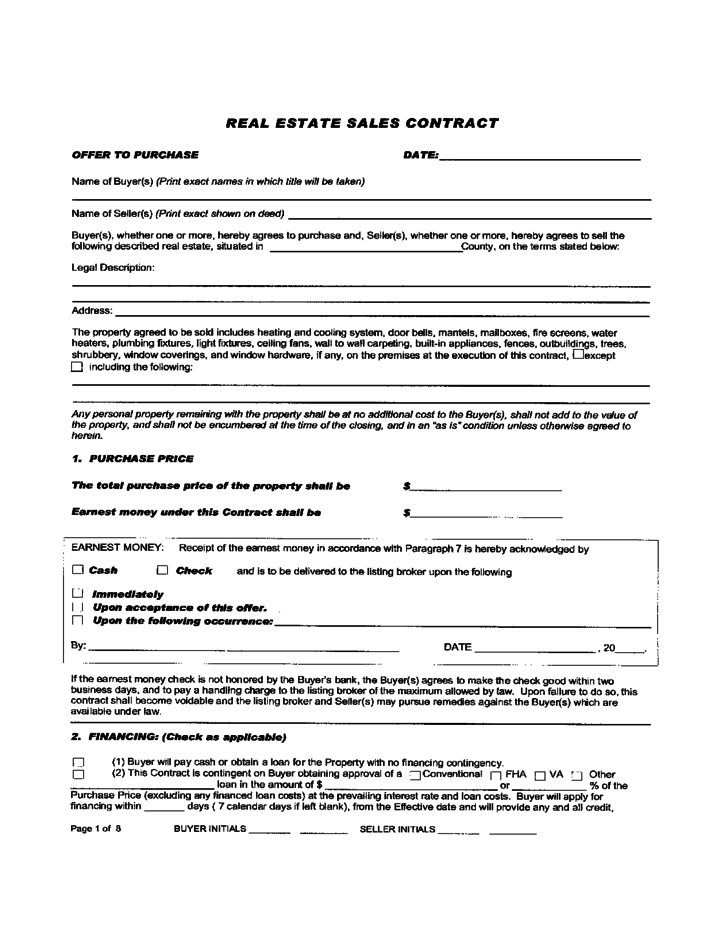 Real Estate Sales Contract Free Download