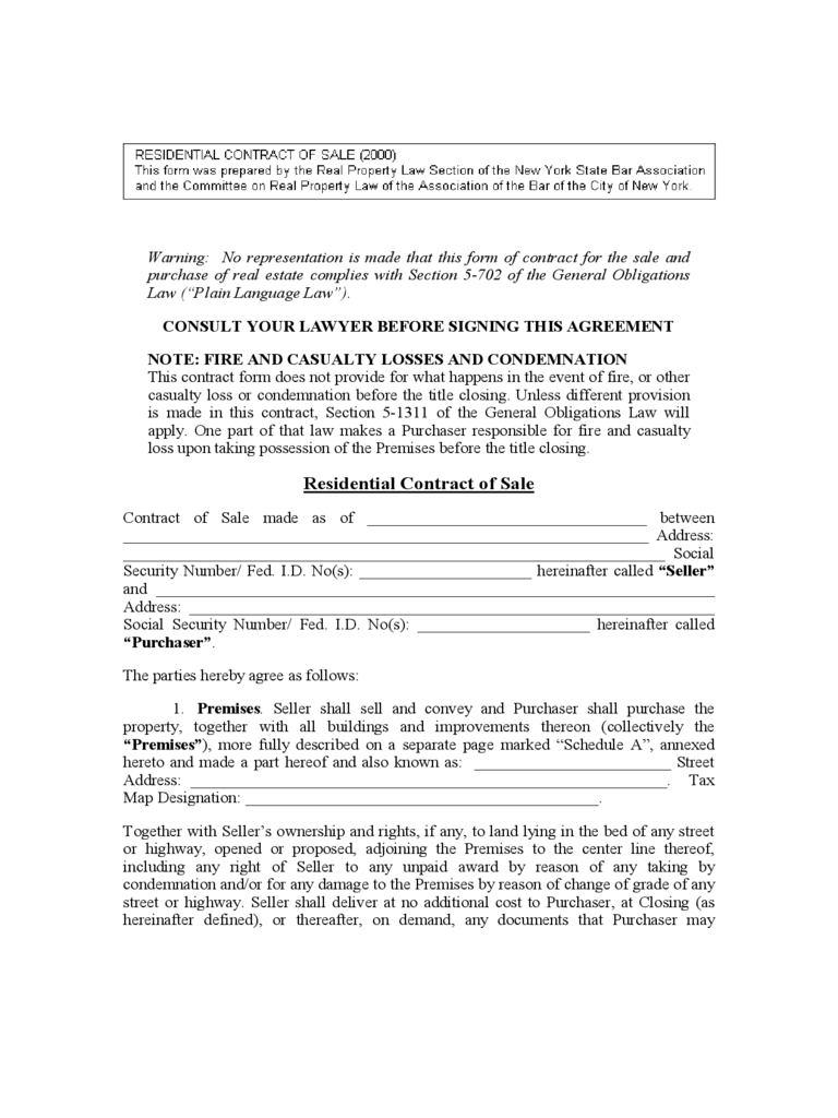 House Sale Contract Form - New York