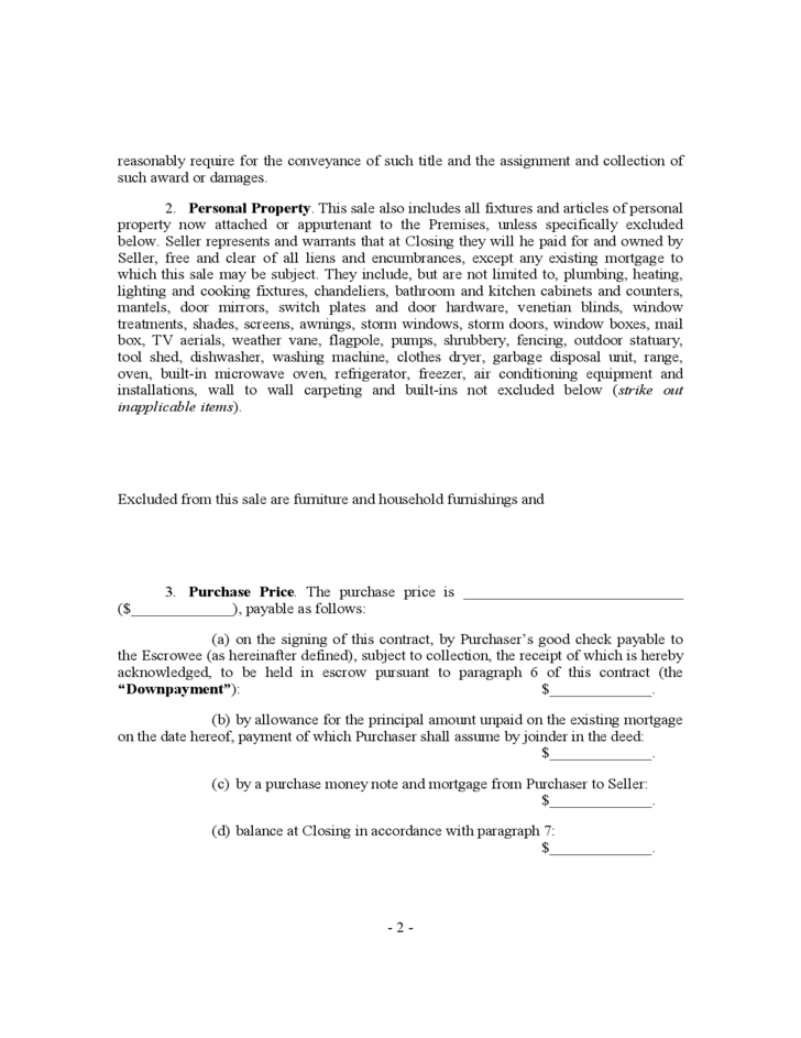 House sale contract form new york free download for Home builders contract