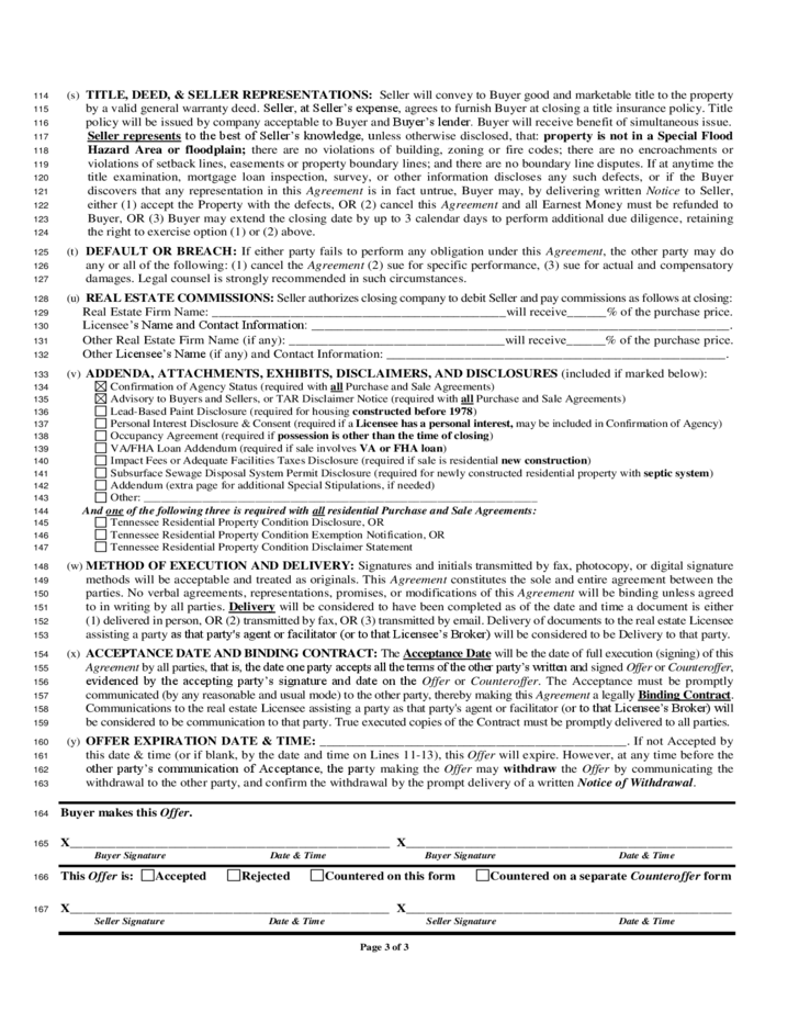 House Sale Contract Form Tennessee Free Download