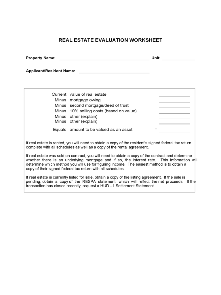 Real Estate Evaluation Form 2 Free Templates In Pdf