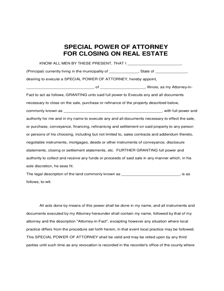 Special Power of Attorney for Closing on Real Estate Free ...
