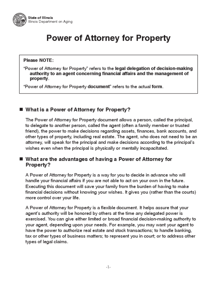 Rent A Car Nj >> Power of Attorney for Property - Illinois Free Download
