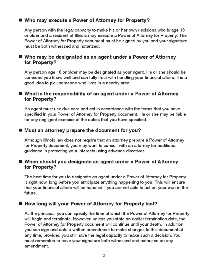 Power of Attorney for Property - Illinois