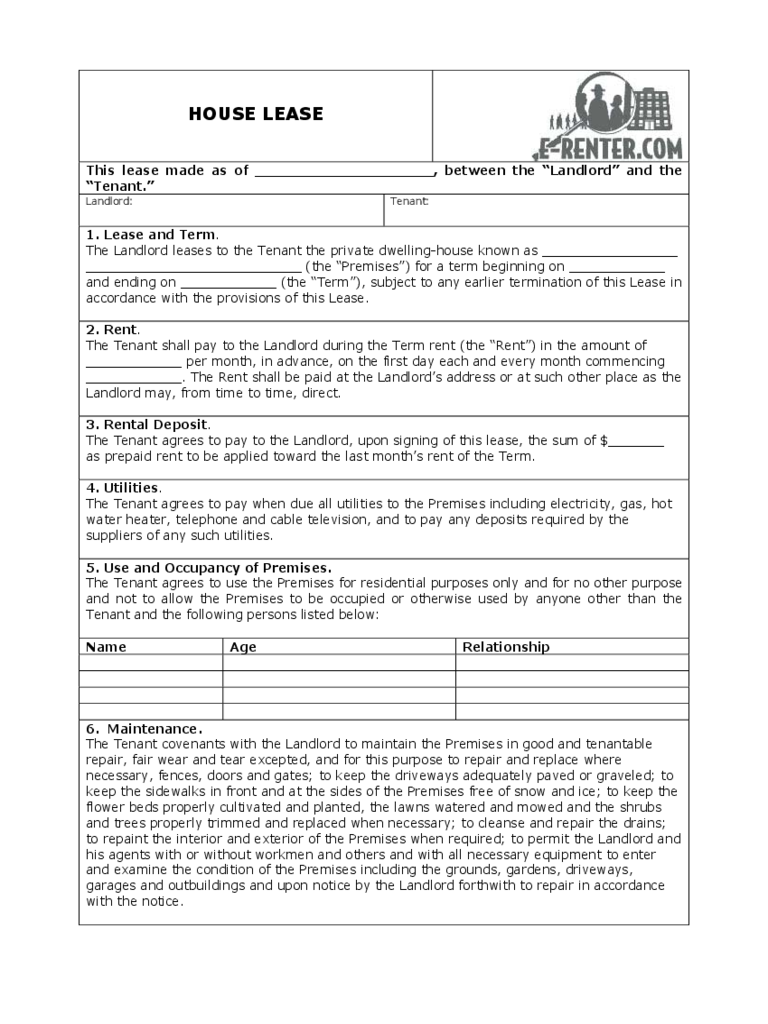House Rental and Lease Form