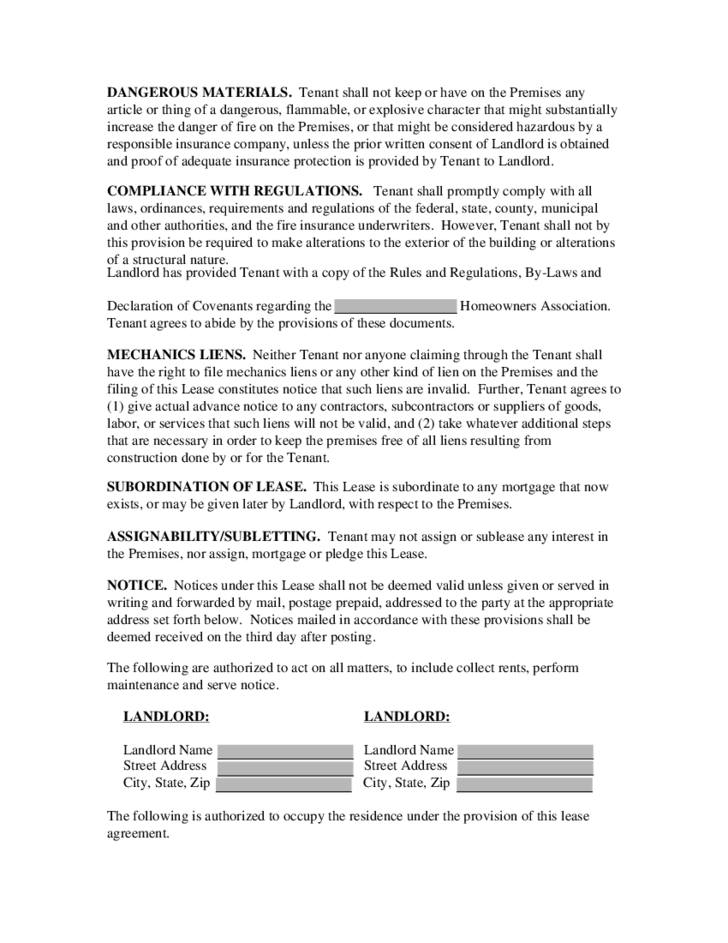 Real Estate Rental and Lease Template