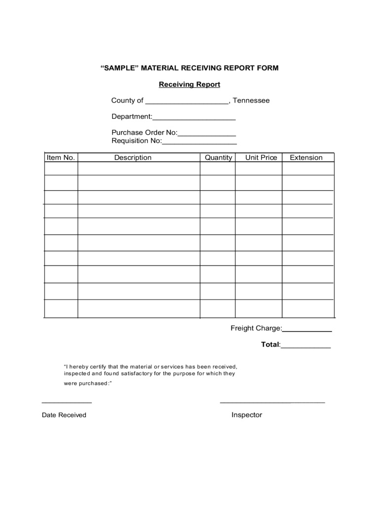 Sample Material Receiving Report Form