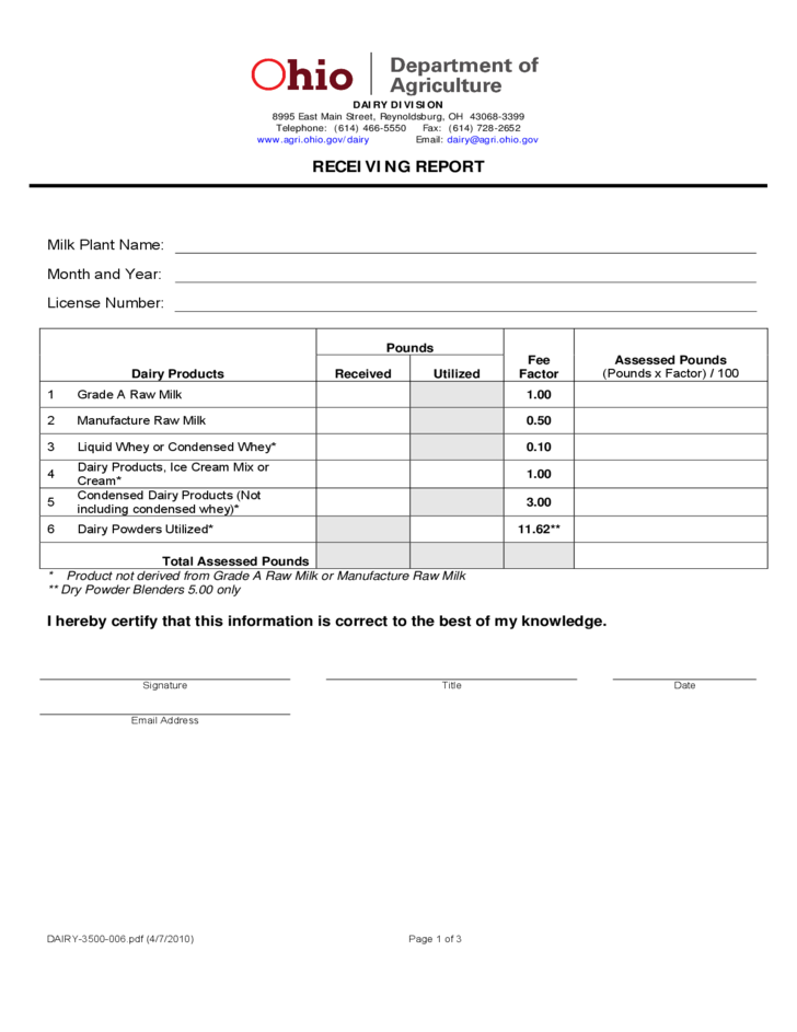 receiving forms template