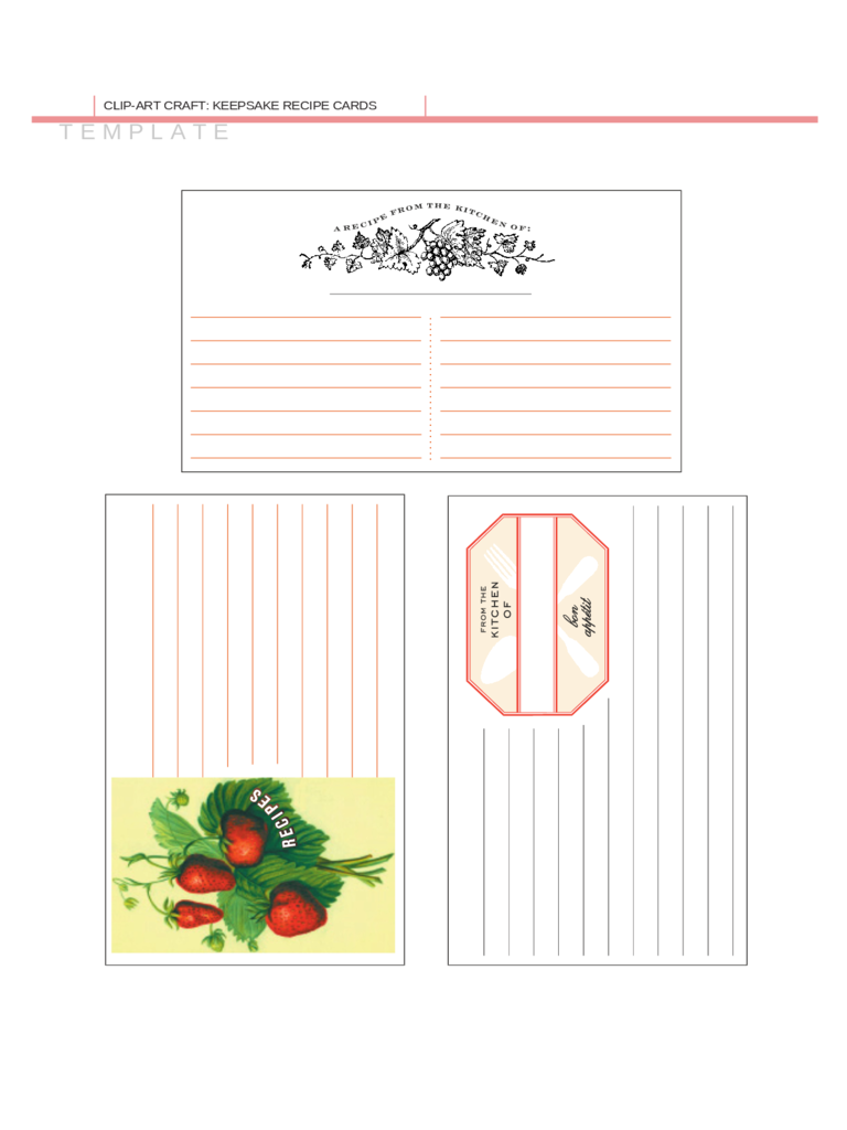 Sample Recipe Card Template