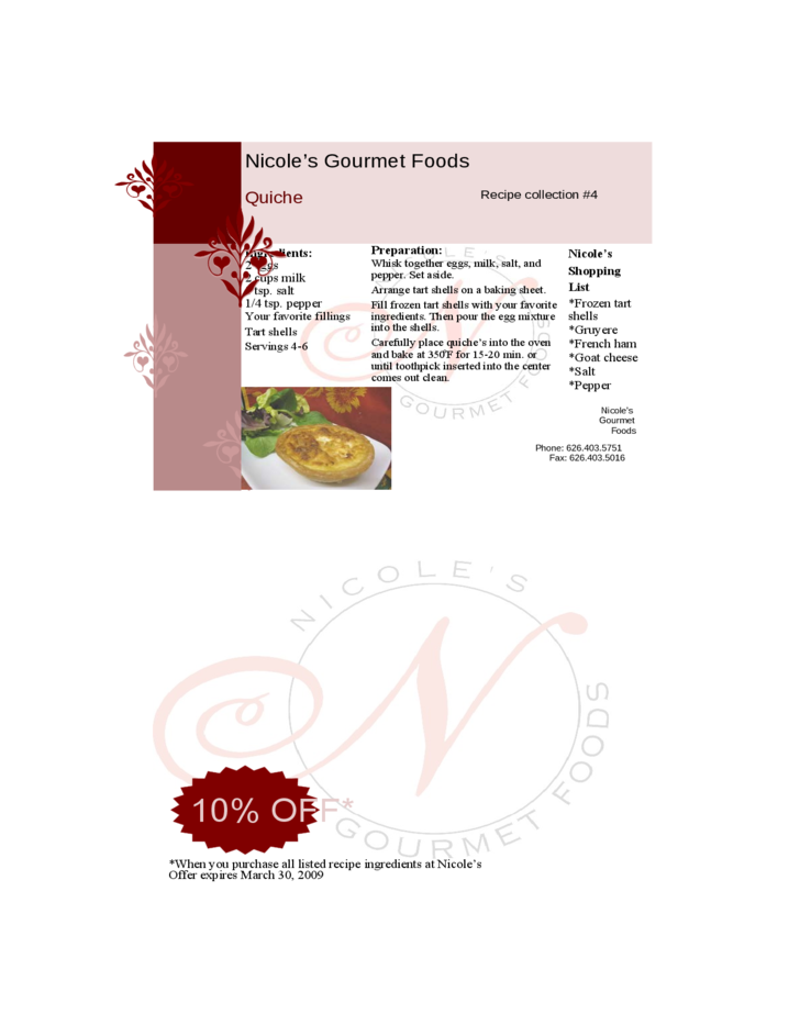 Restaurant Recipe Card Template Free Download
