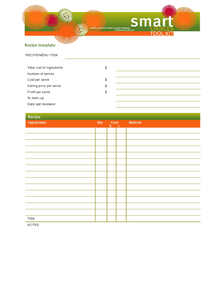 blank recipe template free download