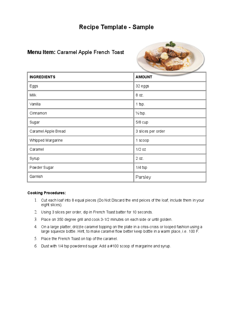 Sample Receipe Template