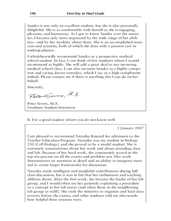 how to write a recommendation letter for a student for