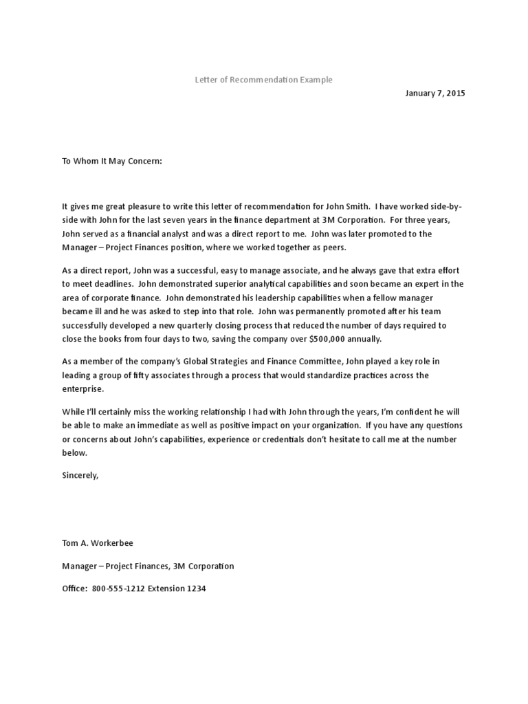 Recommendation Letter Templates 8 Free Templates in PDF Word – Job Recommendation Letter