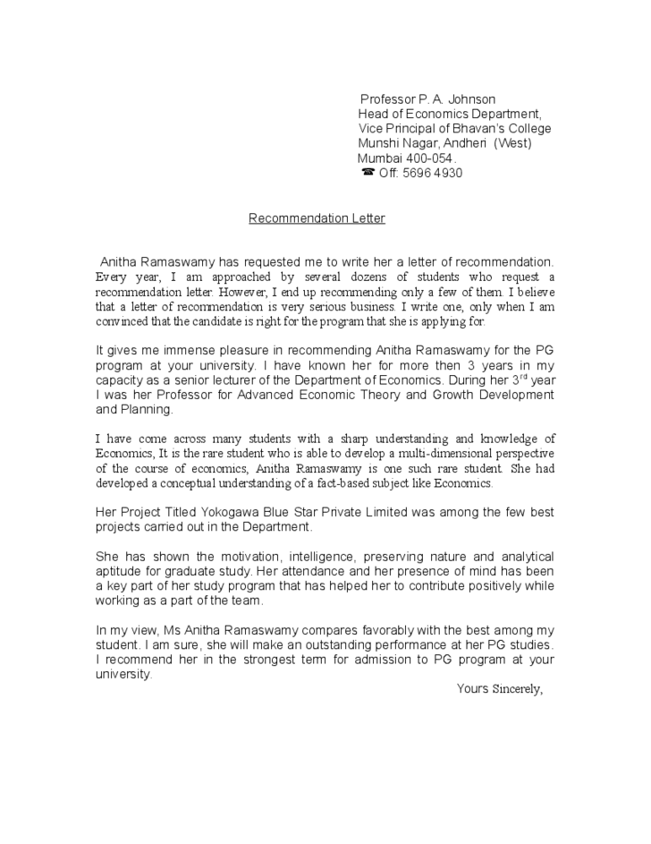 Recommendation Letter For Student From Professor Free Download
