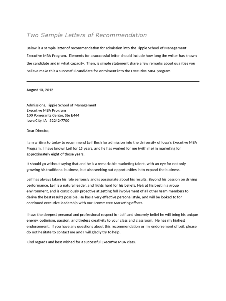 Recommendation Letter Templates 8 Free Templates in PDF Word – Free Template for Letter of Recommendation