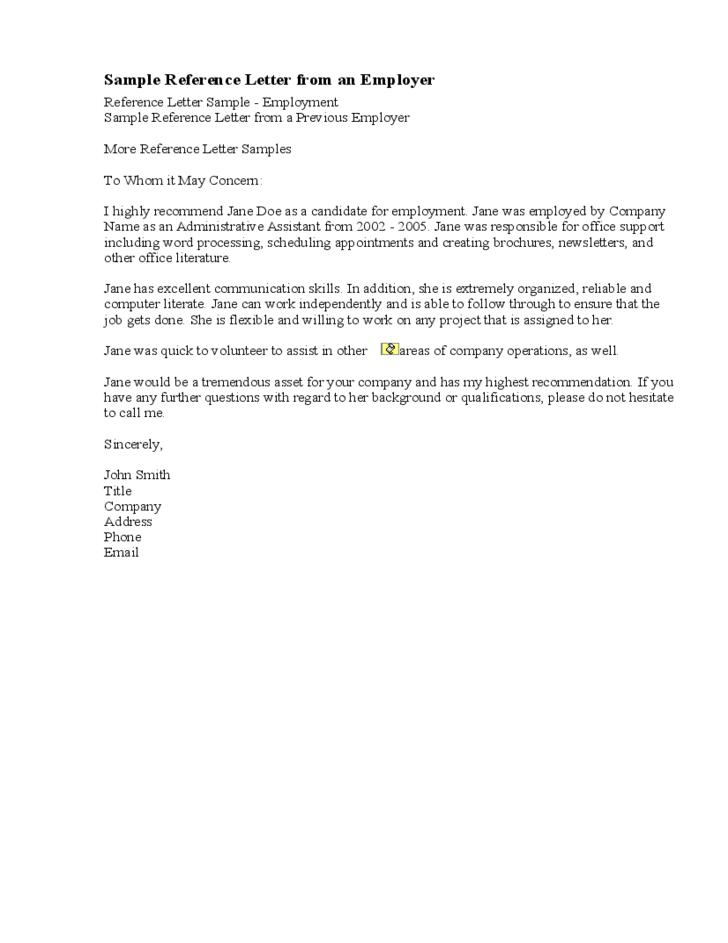 Free Letter Of Reference Template Reference Letter Format Download For Free  Zarplatka.tk