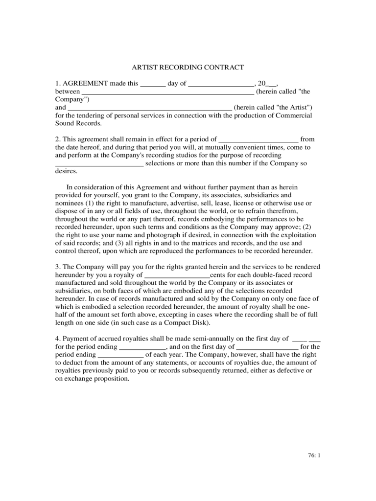 Recording Contract Template - 2 Free Templates in PDF, Word, Excel ...