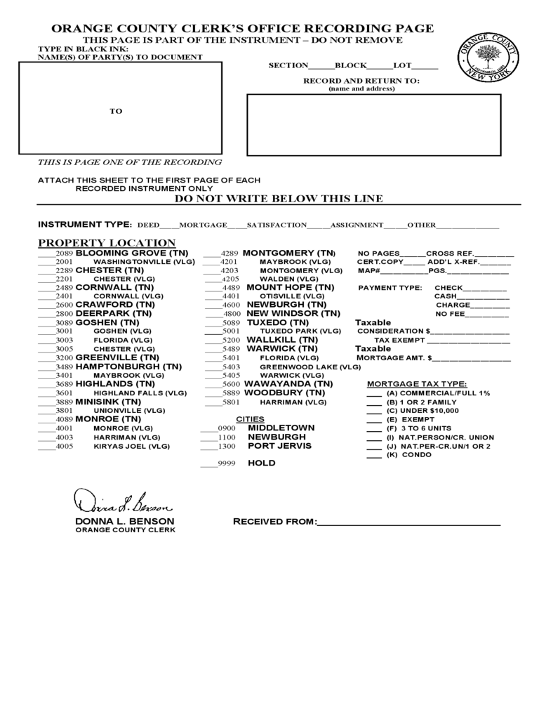 Clerk's Office Recording Page - Orange County