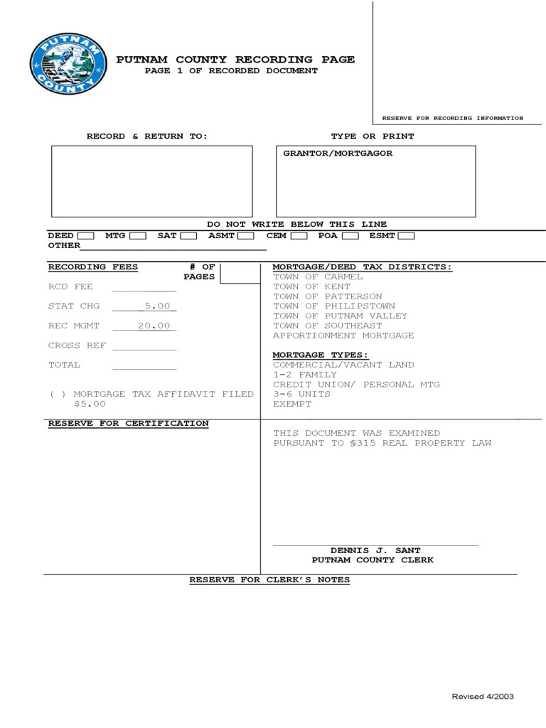 Recording Page - Putnam County