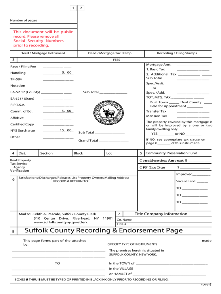 Recording and Endorsement Page - Suffolk County