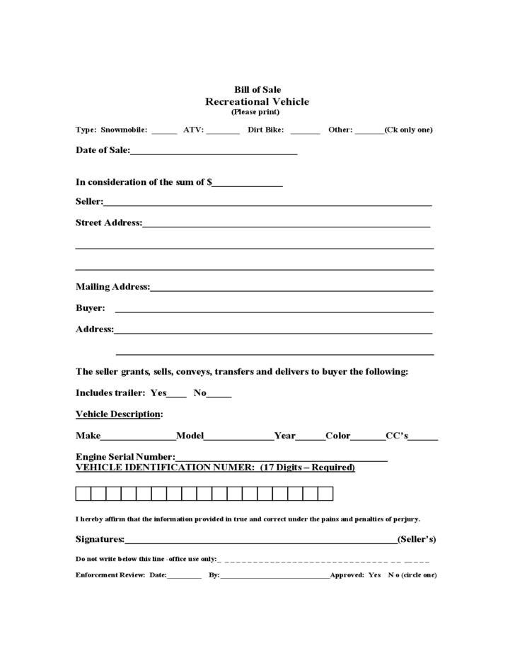 recreational vehicle bill of sale form