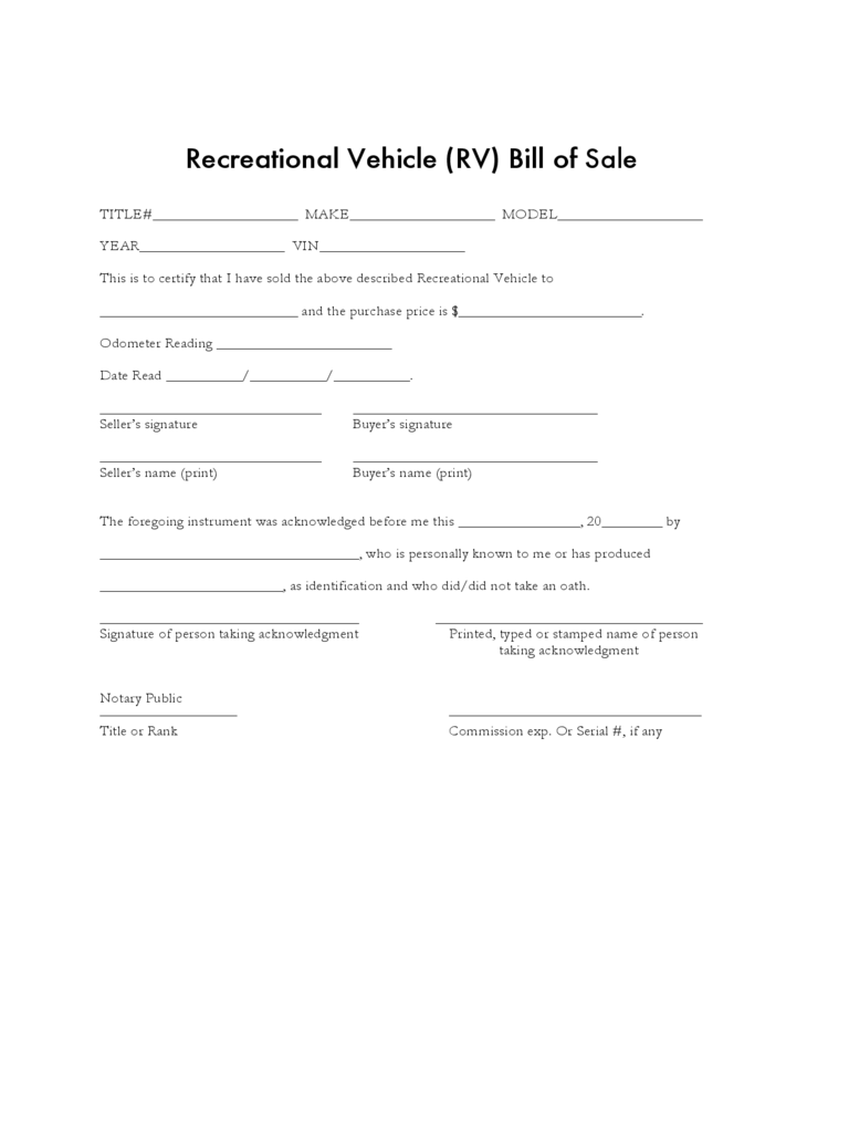 Recreational Vehicle Bill of Sale Form Sample