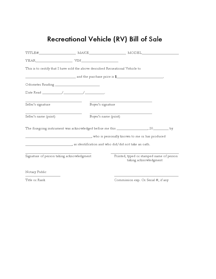 recreational vehicle bill of sale form sample free download