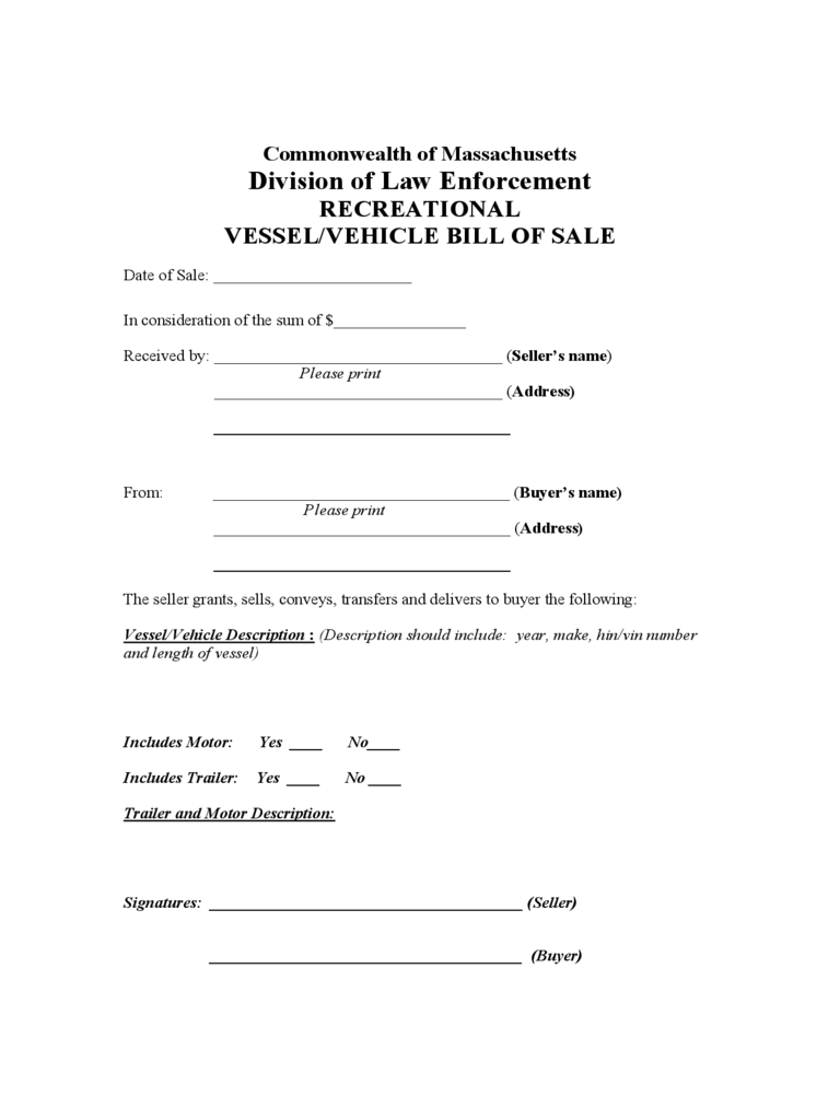 massachusetts bill of sale form