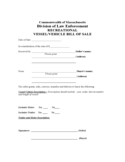 Recreational Vessel or Vehicle Bill of Sale - Commonwealth of Massachusetts Free Download