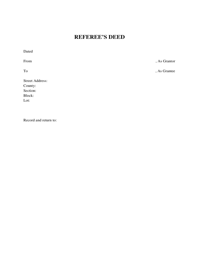 Referee's Deed - New York Free Download