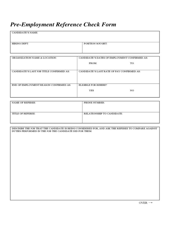 Pre Employment Reference Check Form Free Download
