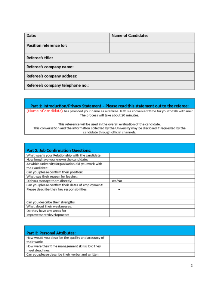 2 Best Employment Reference Checking Template  Employment Reference Form Template