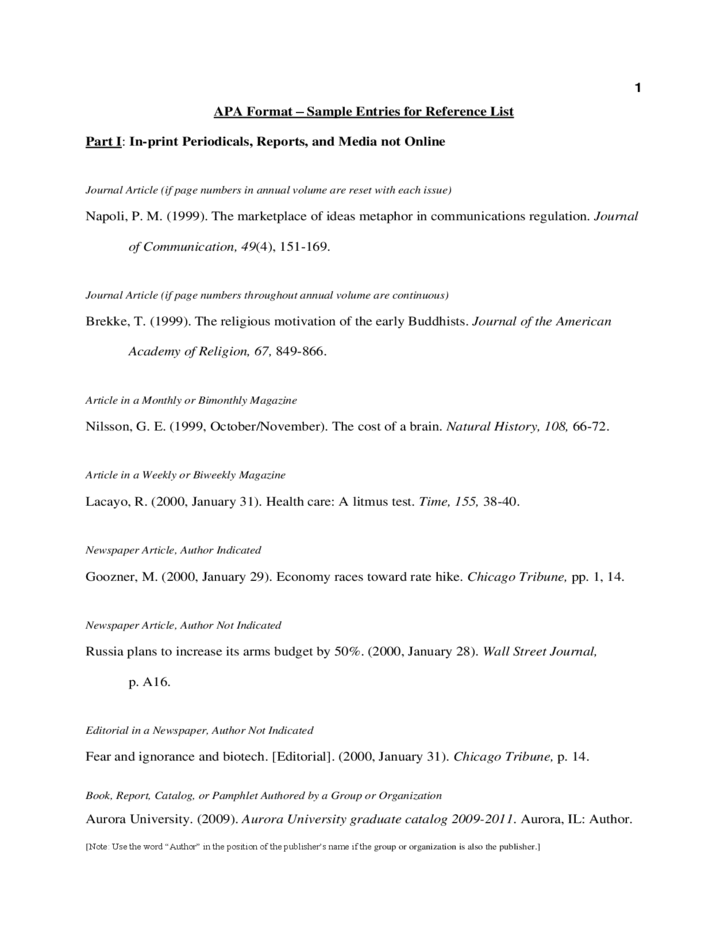Apa Format Sample Reference List Free Download