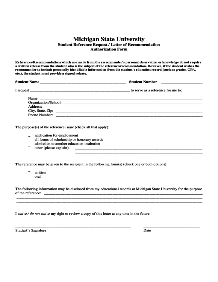 Student Reference RequestLetter of Recommendation Authorization – Reference Request Form
