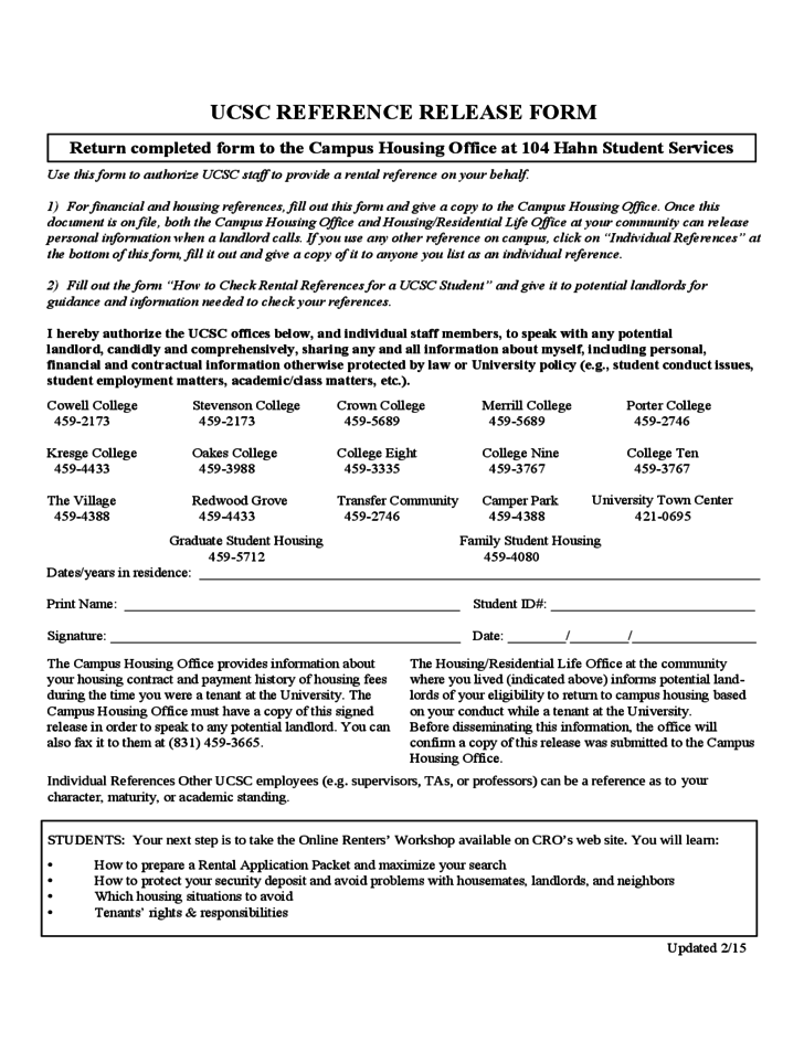 UCSC Reference Release Form Free Download – Reference Release Form