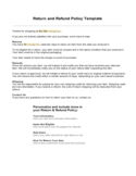 Return and Refund Policy Template Free Download