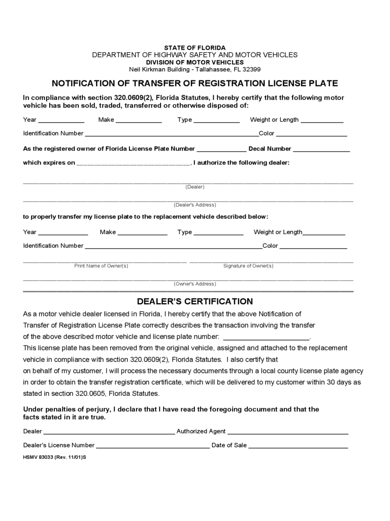 Notification of Transfer of Registration License Plate - Florida