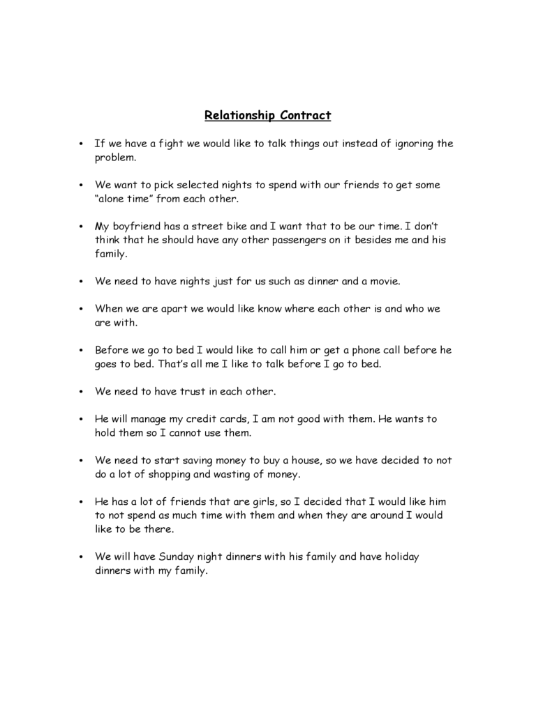 Relationship Contract Template - 2 Free Templates in PDF ...