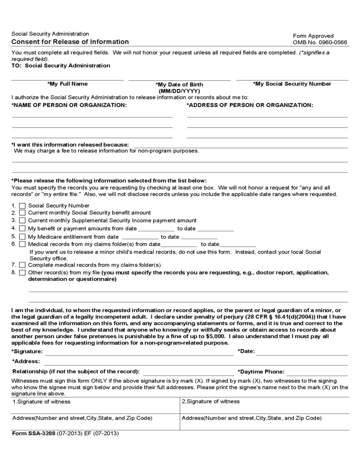 Form Ssa 3288 Consent For Release Of Information Free