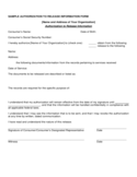 Sample Authorization to Release Information Form Free Download