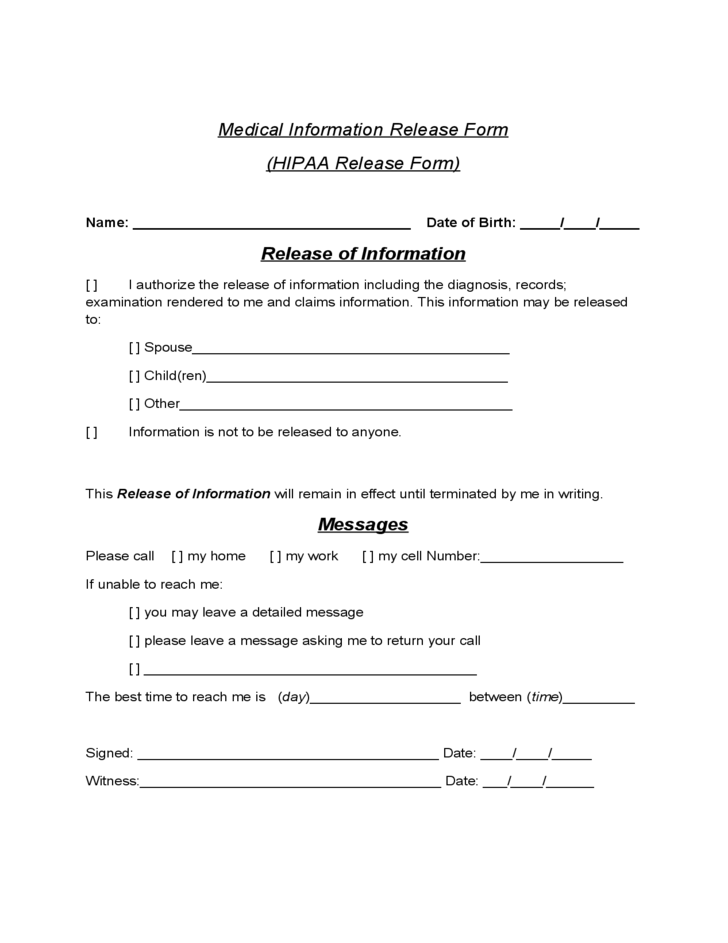 Standard Release Of Information Form. Release Of Medical Information Form  ...